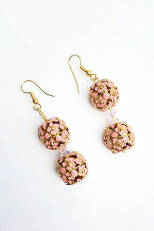 Vintage Pink Enamel Earrings