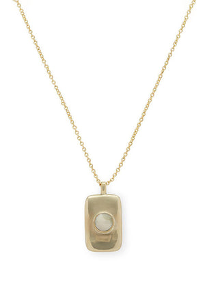 SOKO Bezeled Rectangle Medallion Necklace in White