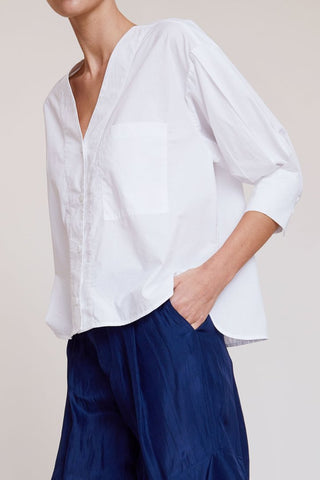 Turin Blouse in White Poplin