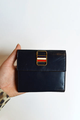 vintage navy leather wallet