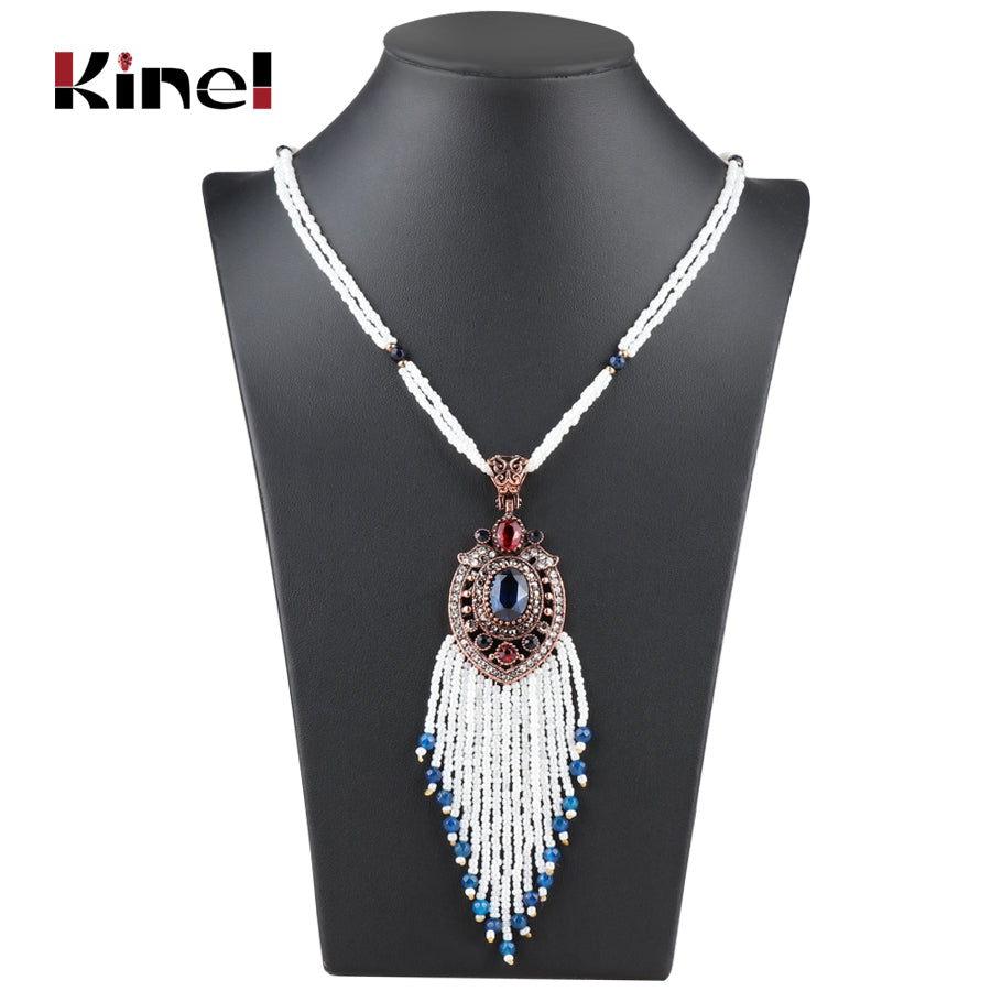 Hand-Blue Beaded Stone Tassel Necklace