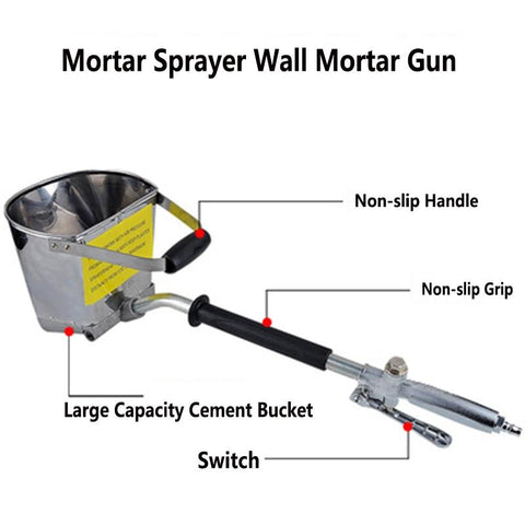 4 Jets Efficient Wall Mortar Cement Spray Gun
