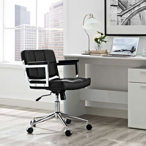 Portray Mid Back Upholstered Vinyl Office Chair - Black - Office Picture