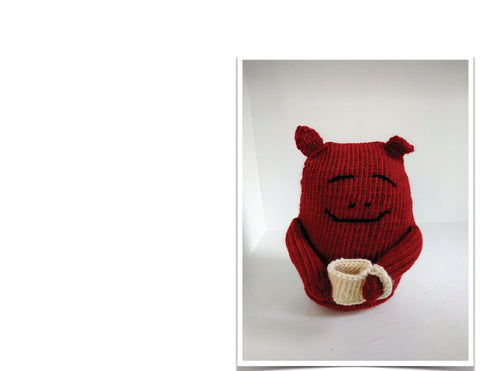 hand knit coffee monster