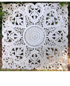 Mandala 8 HEART Wall Art 1m x 1m White