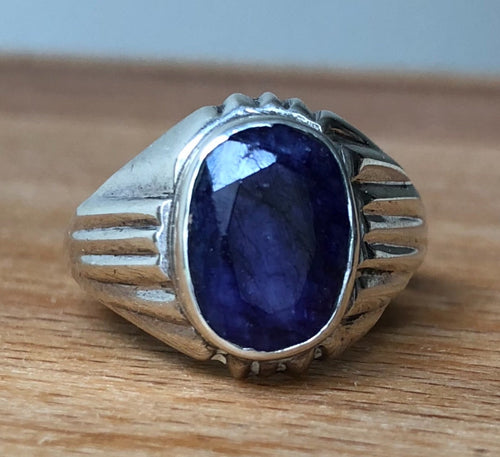 SAPPHIRE OVAL FACETED STONE STERLING SILVER RING