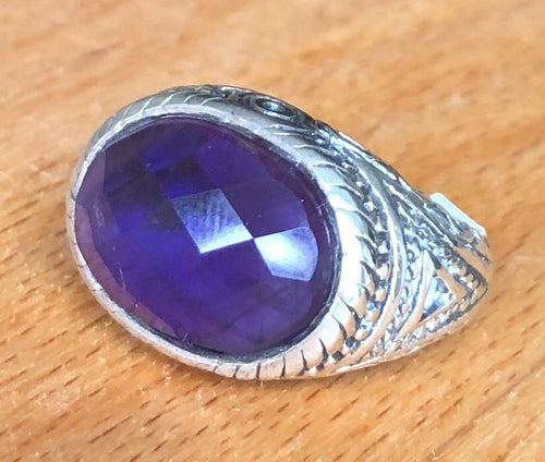 Amethyst Faceted Stone Sterling Silver Ring