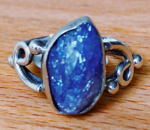 BLUE KYANITE RING - NATURAL STONE SMALL OVAL    STERLING SILVER ORNATE BAND;  SIZE