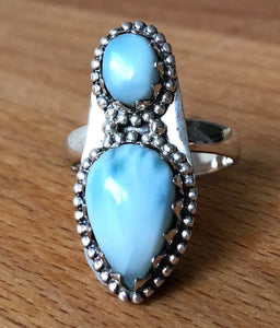 LARIMAR  GODDESS RING - TEAR DROP x  2 STONES  STERLING SILVER BAND;  SIZE 8.25