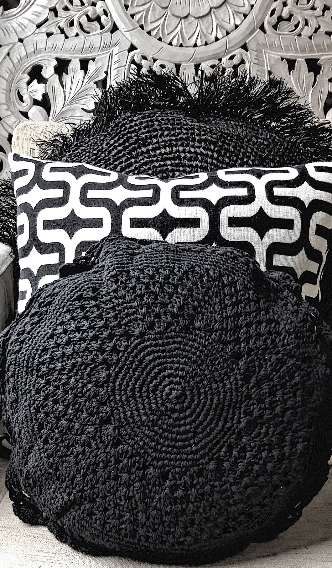Sorrento Black Crocheted Round Cushion