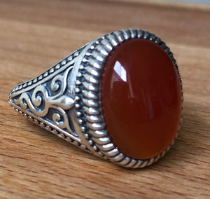 CARNELIAN RING - OVAL POLISHED STONE  ORNATE STERLING SILVER BAND ;  SIZE 13