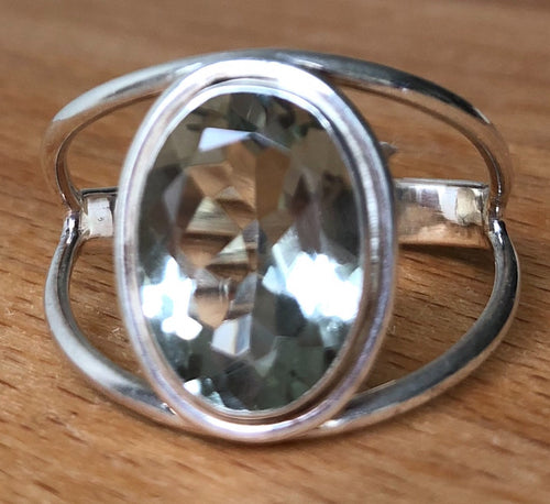 GREEN AMETHYST  RING - FACETED STONE   STERLING SILVER BAND ;  SIZE 12.75