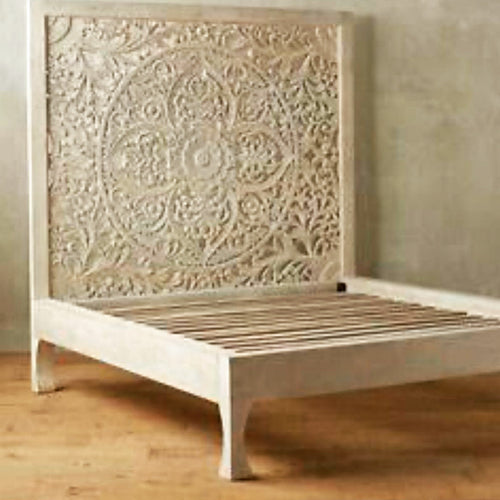 BERU Carved Bed King Natural Wash