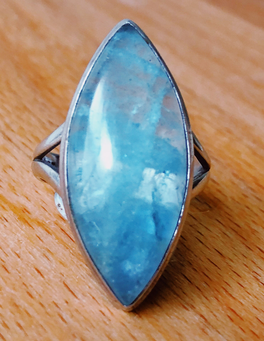 AQUAMARINE RING - Polished stone 3cm length  STERLING SILVER BAND ; SIZE