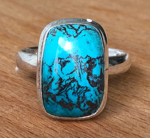 SHATTUCKITE RING -  RECTANGLE  BLUE POLISHED STONE S/S BAND;   SIZE 12.75