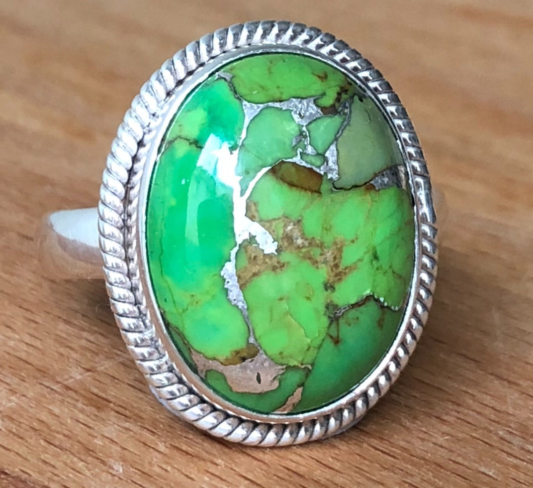 Turquoise Green Oval Silver Ring