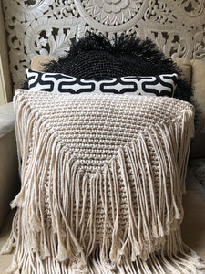 40cm Fringed Macramé Cushion