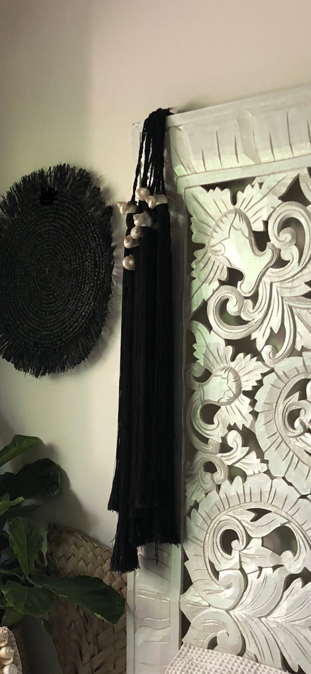 Shell Wall Art / Curtain Tie Backs Black