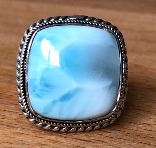 LARIMAR  RING - SQUARE  2cm x 2cm approx   STERLING SILVER BAND;    SIZE 6.25