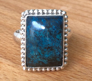 SHATTUCKITE RING -  RECTANGLE  BLUE POLISHED STONE S/S BAND;   SIZE 11.25