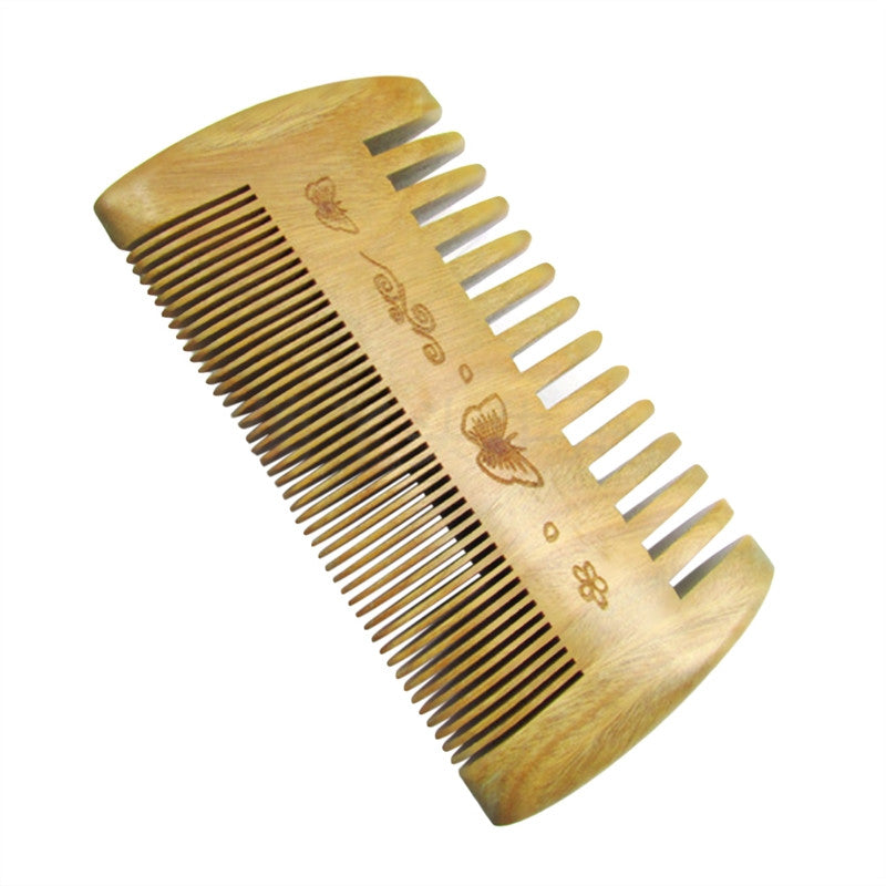 Hand Made Double-sided Natural Sandalwood Verawood Hair Brush Anti-Static Pocket Combs Beard Moustache Wide Fine Tooth Contour Brush