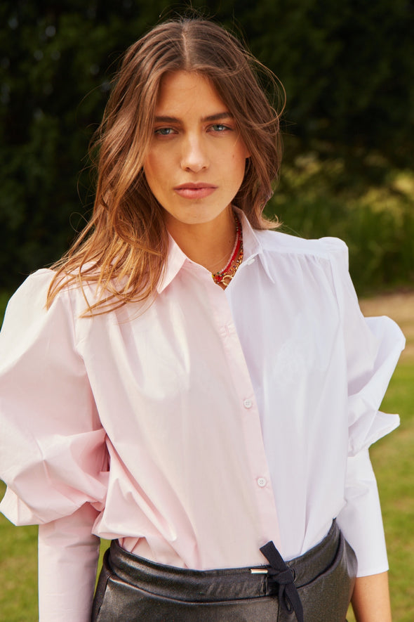 CAMISA VADHANI BICOLOR - OFF WHITE & BABY PINK