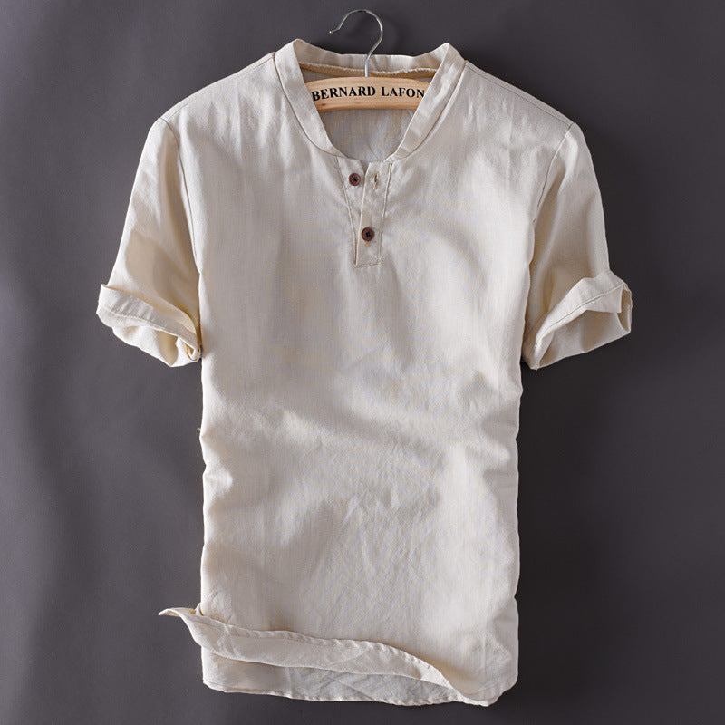 Mens Pullover Linen Shirts Short Sleeve Summer Breathable Mens Quality Casual Shirts Slim fit Solid Cotton Shirts Men TS-150