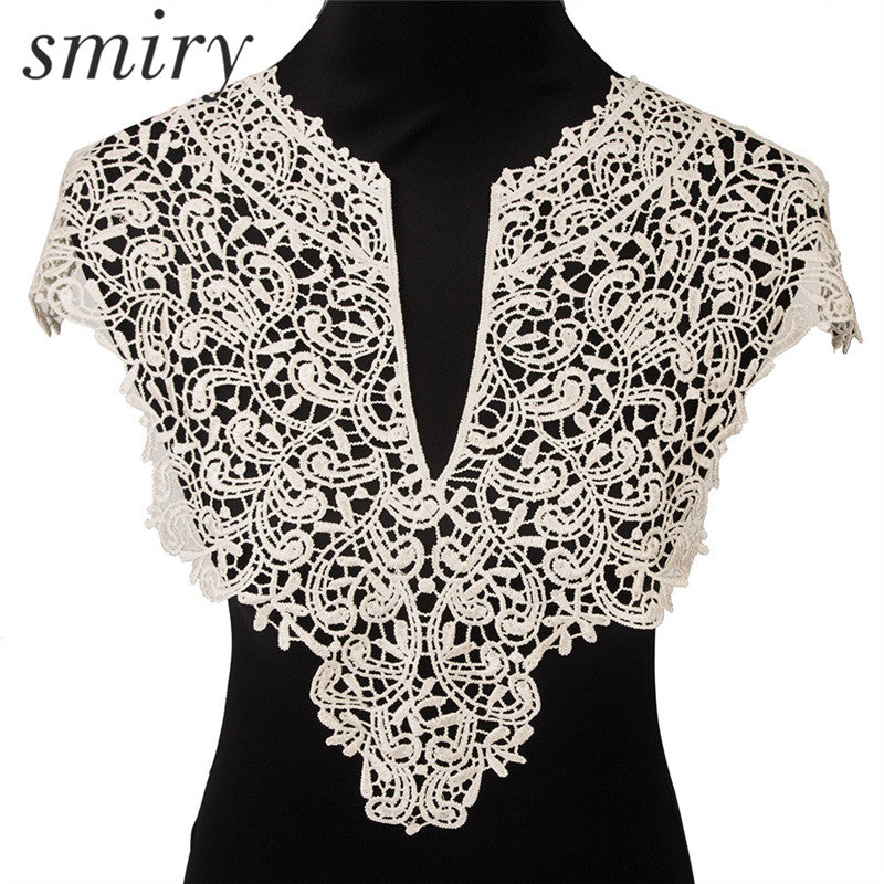 Beautiful 1pc Black & Off White Embroidery Big Flowers Lace Neckline Fabric`
