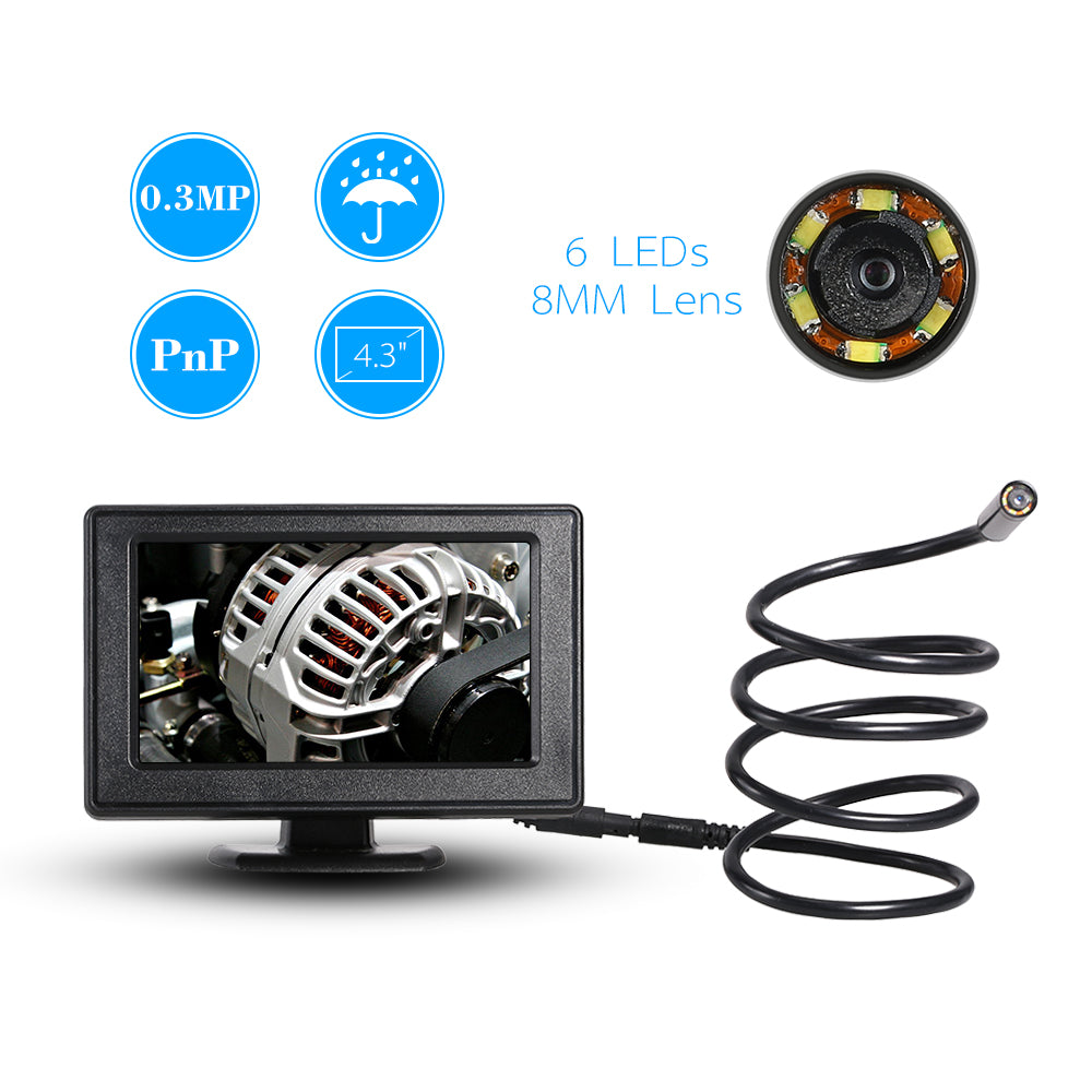 "8mm USB Endoscope 1M Cable Mini Sewer Waterproof Camera Borescope Video DVR 4.3"" Monitor Wire Snake Tube Camera Car Inspection"