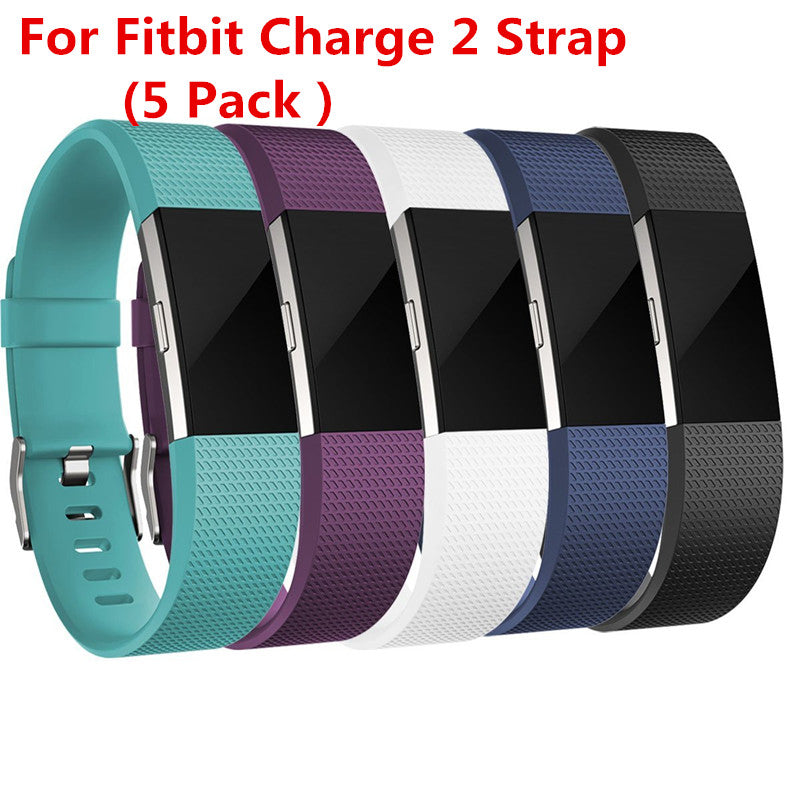 (5 Pack )Replacement Silicone Rubber Band Strap Wristband Bracelet