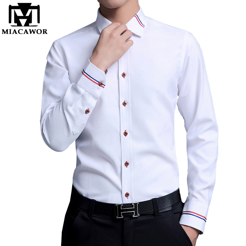 5XL 2018 New Men Dress Shirts Brand Clothing Fashion Camisa Social Casual Men Shirt Slim Fit Long-Sleeve Camisa Masculina MC274