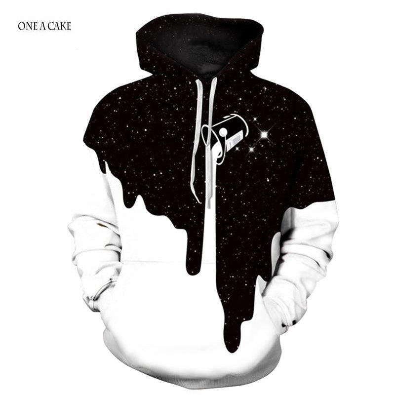 2018 3D Hoodies Men Sweatshirts Melted Skull Print Long sleeve Casual Pullovers Streetwear Tops Spring Regular Fashion Harajuku