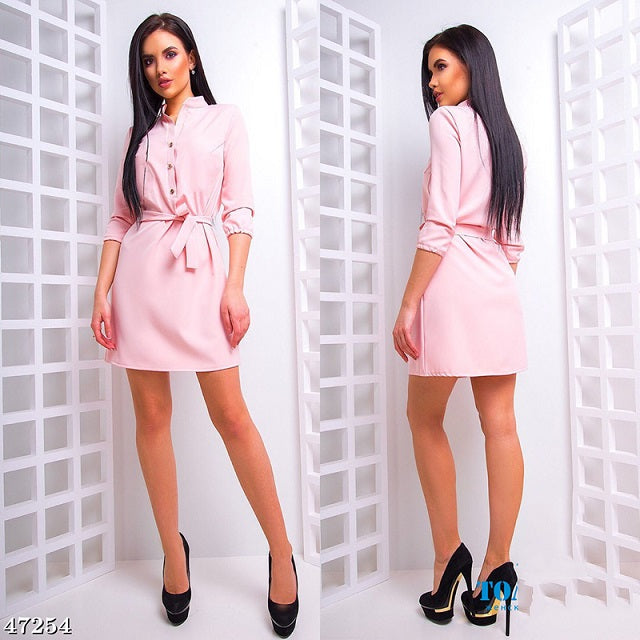 2018 Summer Women Fashion stand collar Loose Dress Elegant Waist band Beach Party Dresses Casual 3/4 sleeve female Vestidos