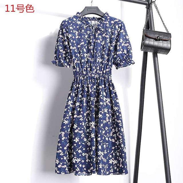 14colors Beautiful 2018 New Summer Fashion Women Chiffon Dress A-line Floral Print Short Sleeve V-neck Formal Retro Slim Dresses
