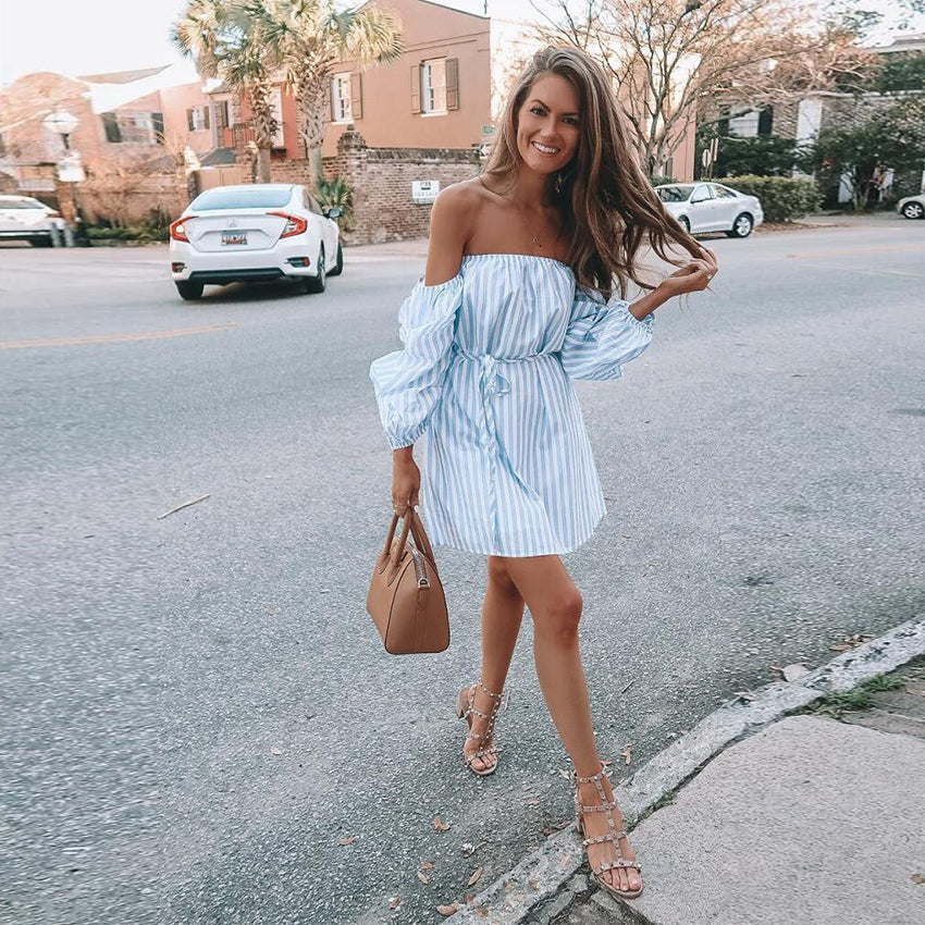 2018 New Blue Striped dres strapless puff sleeve summer dress Loose casual robe High waist sashes party dress vestidos