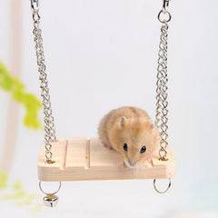 New Wooden Hanging Swing Fun Toy For Pet Hamster Mouse Gerbil Rat Small Parrot Bird Interesting