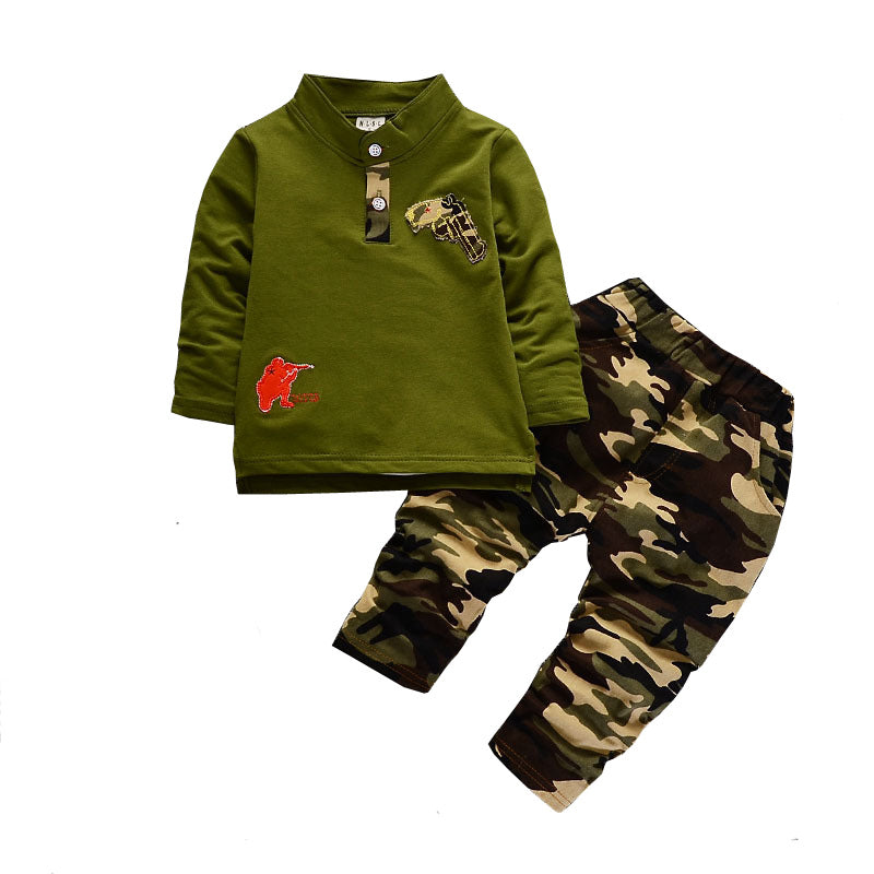 BibiCola Baby Boys Clothing Sets Children Spring Sports Suit Casual Long Sleeve Shirt+Pants 2PCS Camouflage Tracksuit For Boys