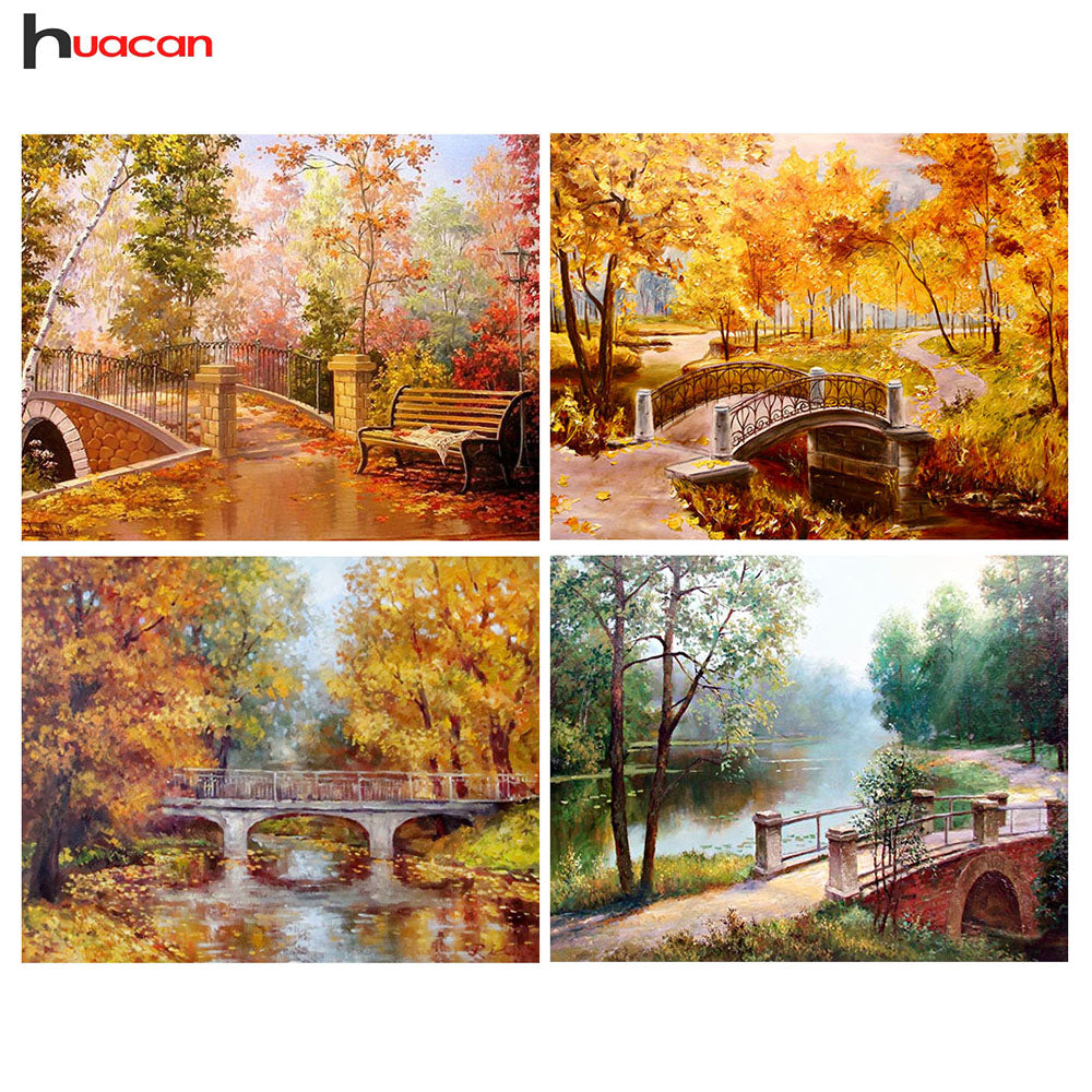 Diamond Embroidery Scenic Diamond Painting Cross Stitch Full Round Diamond Mosaic Landscape Pictures Rhinestone Home Decor