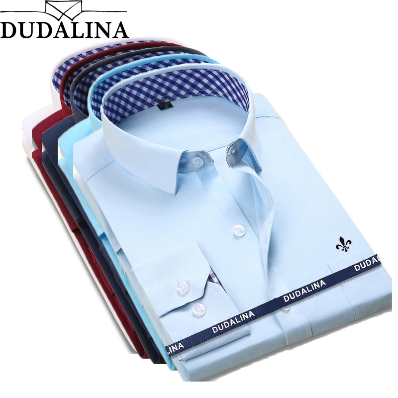 DUDALINA 2018 New Classical Dress Shirt Male Shirt Men Spring Autumn Long Sleeve Solid Twill Formal Business Men Social Shirts
