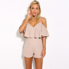 2018 new fashion summer  women solid color ruffles jumpsuit sexy strapless tunic rompers playsuits