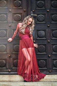 Stacey Red Long Dress Jumpsuit with Lace