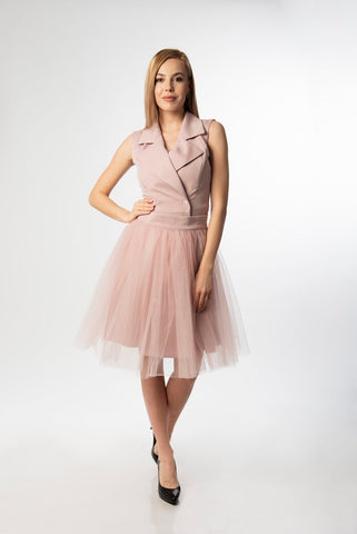 Lisa Transformable Sleeveless Women's Elegant Midi Dress With Tutu Skirt