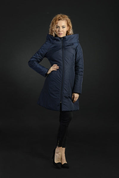 Julia Women's Blue Polyester, Warm Water Resistant Long Jacket With Large Collar