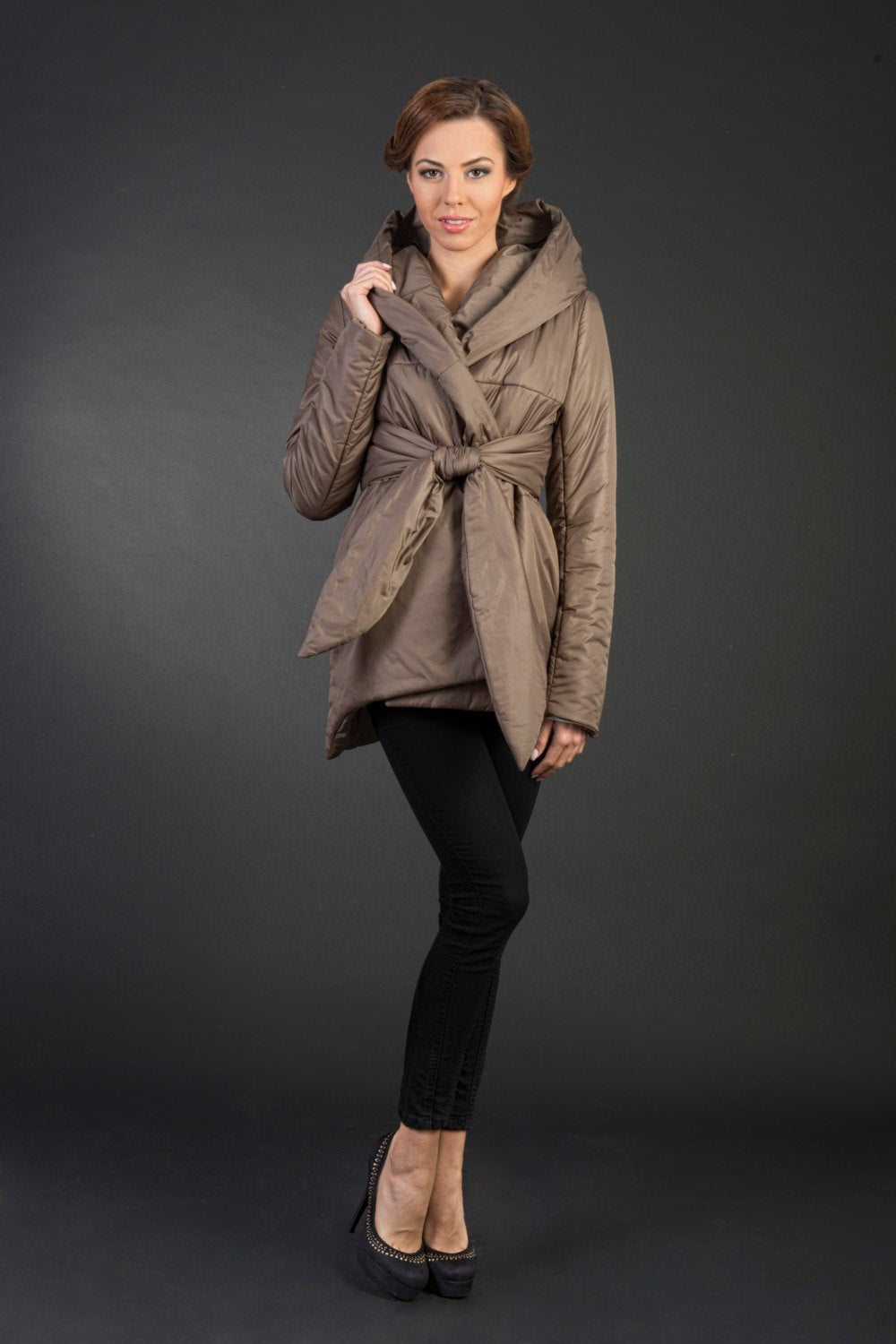 Maria Beige Women's Warm Stylish Water Resistant Short Jacket With Large Hood