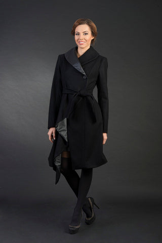 Sarah Asymmetric Stylish Woman Wool Coat