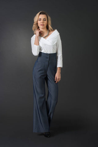 Dizalex Tanya High-Waist Blue Woman Palazzo Pants, Wide Leg Trousers | Flared Pants, Elegant Denim Pants, Plus | Large Sizes, Sexy Woman Trousers
