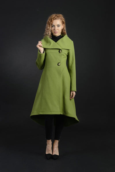 Daisy Warm Wool, Women's Long Coat With Large Collar Hood