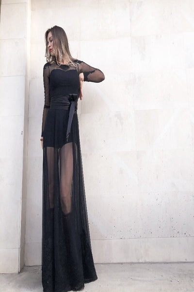 Stacey Black Long Dress Jumpsuit with Lace