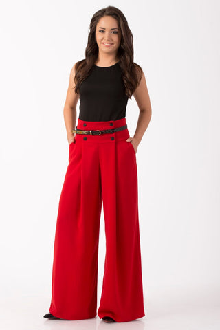 Angelia Red Women's Long Summer Sexy Palazzo Pants / Plus Sizes Available