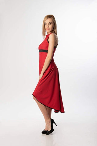 Aria Red Tango Dress / Cocktail Elegant Asymmetric Dress/  Woman halterneck dress / Spanish style dress, plus sizes tango dress, cocktail dress, flamenco dress, elegant flow dress
